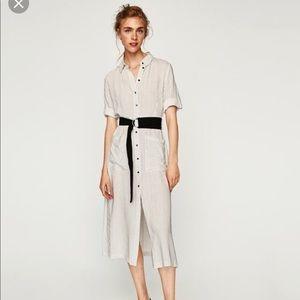 Zara striped button front midi dress w/belt